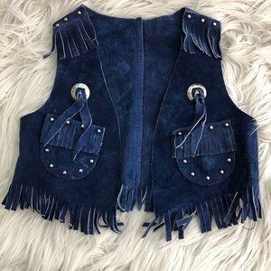 Vintage Sears Blue Suede Cowboy Vest Sz 2-4